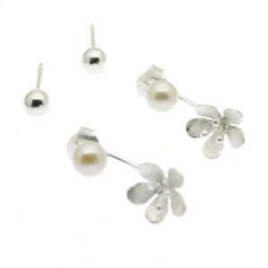 ES3470 - single flower pearl earring (1)