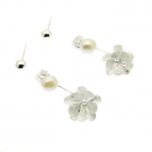 ES3475 - double flower pearl earring (1)