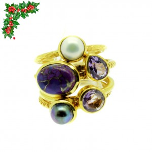Xmas RSTK53B (1) - 5 Gold Stacking Rings