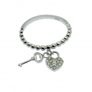 Silver Heart & Key Charm Ring