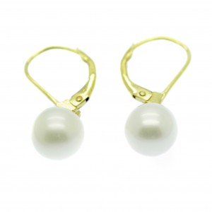 Gold Leverback Pearl Earrings