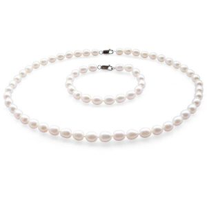 Pearl Necklace & Bracelet Set