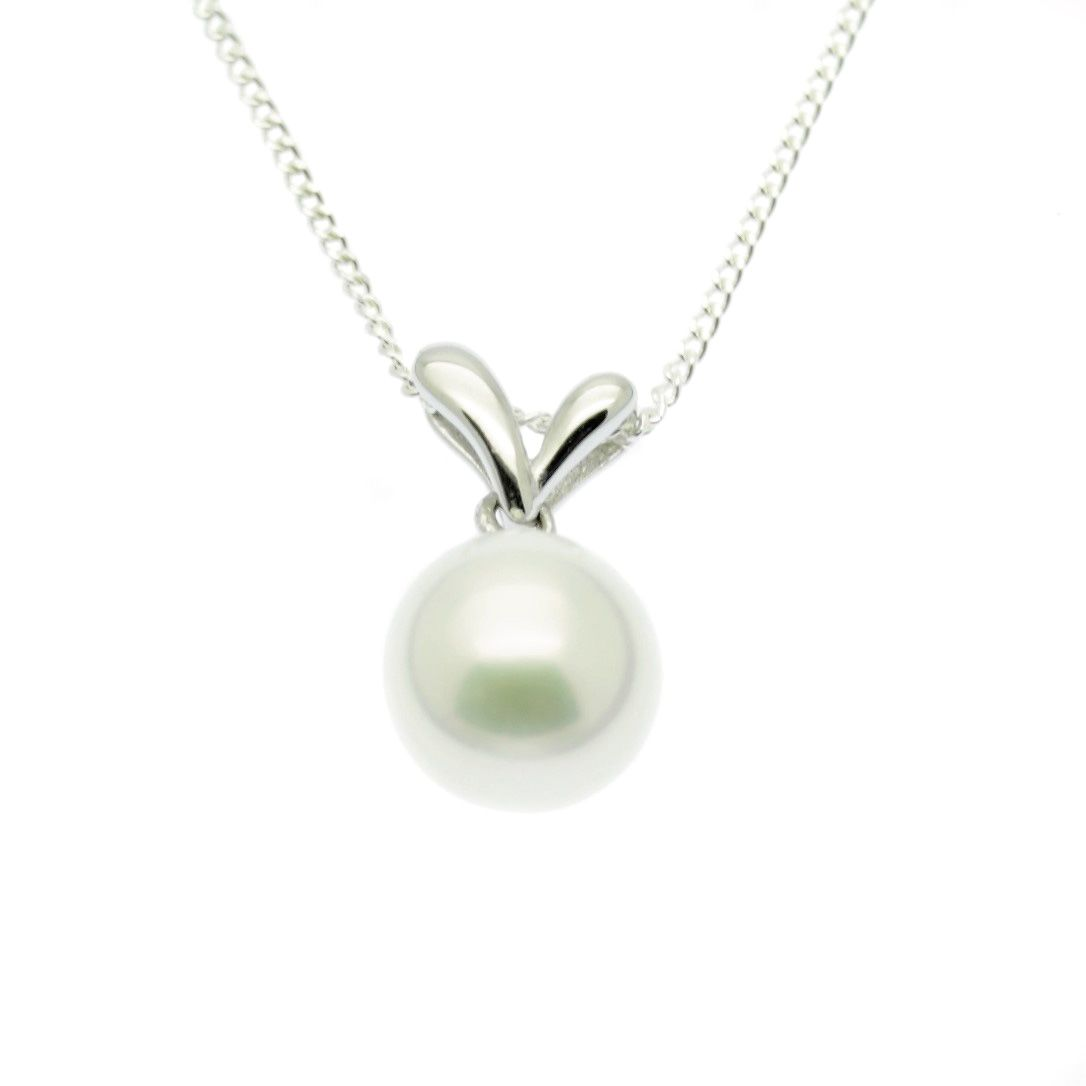 Single pearl pendant necklace 9mm round pearl sterling silver mozeypictures Choice Image
