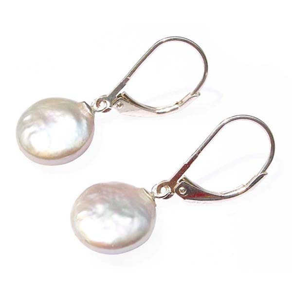 Leverback Earrings Coin Pearl Drop & Dangle Sterling Silver